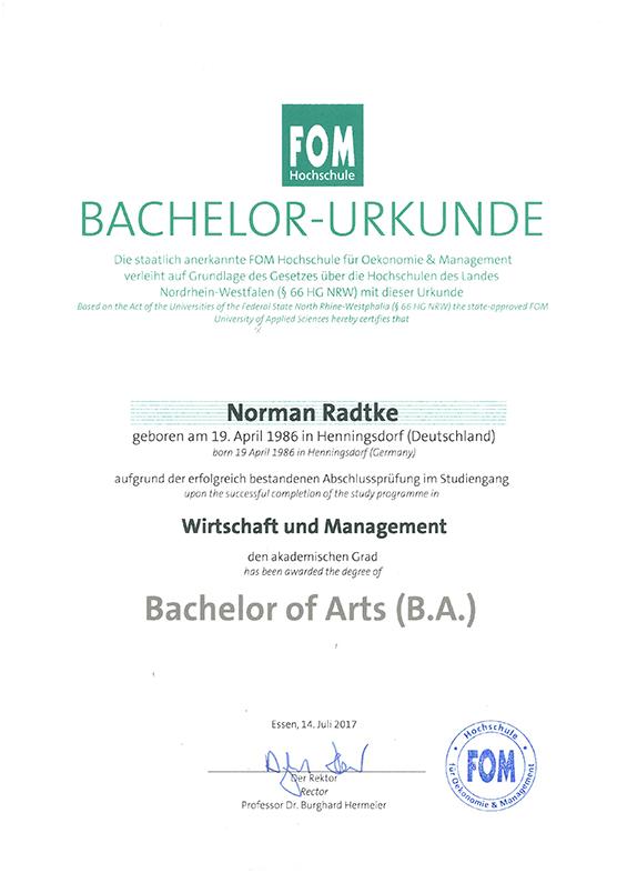 Bachelor of Arts (Wirtschaft und Management), 2017