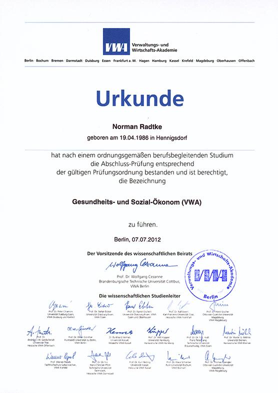 Gesundheits- und Sozial-Ökonom (VWA), 2012